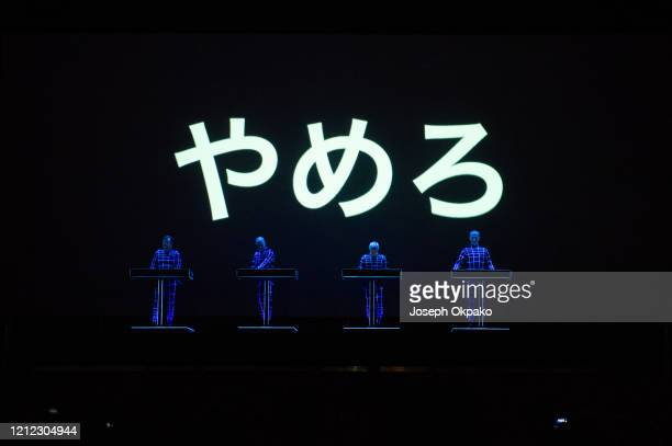 Ralf Hütter Fritz Hilpert Henning Schmitz and Falk Grieffenhagen of Kraftwerk perform on stage on Day 2 at the fourth edition of Lollapalooza Berlin...