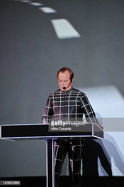 Ralf Hütter of the band Kraftwerk performs during the Kraftwerk Retrospective 1 2 3 4 5 6 7 8 Autobahn at The Museum of Modern Art on April 10 2012...
