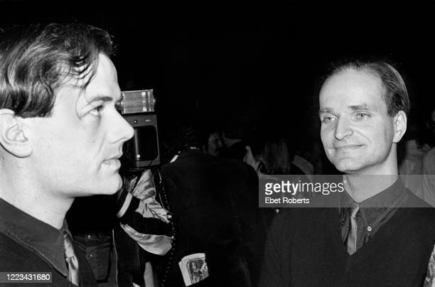 Ralf Hutter and Florian Schneider of Kraftwerk at a Capitol Records Kraftwerk promotional party for the 'Man Machine' record at Studio A of American...