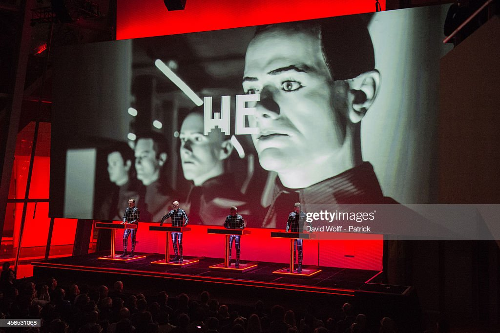 Ralf Hutter, Fritz Hilpert, Henning Schmitz and Falk Grieffenhagen from Kraftwerk perform at Fondation Louis Vuitton on November 6, 2014 in Paris, France.
