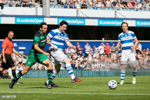 Ralf Little, Marcus Mumford and Damian Lewis during the #GAME4GRENFELL at Loftus Road on September 2, 2017 in London, England. The charity football...