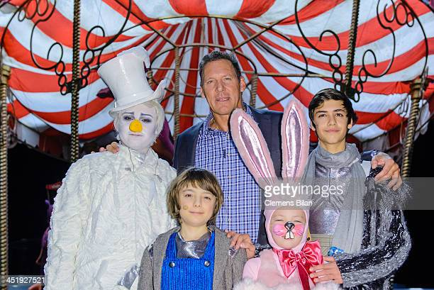 Ralf Moeller and actors Alessandro Strogulski Lino Riester Tamara Silbermann and Merlin Stuebler pose during a photo call during the rehearsals for...