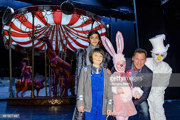 Ralf Moeller and actors Lino Riester Merlin Stueber Tamara Silbermann and Alessandro Strogulski pose during a photo call during the rehearsals for...