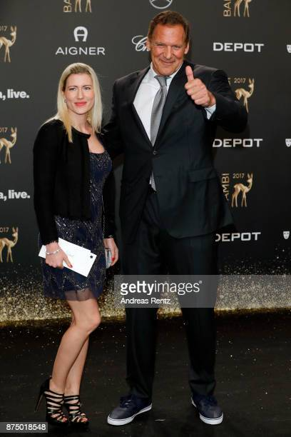 Ralf Moeller and his girlfriend Justine Neubert arrive at the Bambi Awards 2017 at Stage Theater on November 16 2017 in Berlin Germany