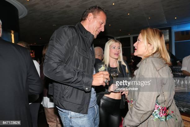 Ralf Moeller and his girlfriend Justine Neubert during the 'Ellen von Unwerth HEIMAT' Exhibition Opening after party at hotel Mandarin Oriental on...