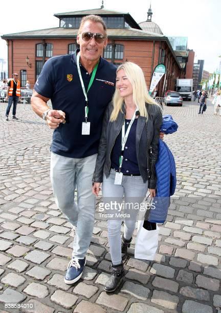 Ralf Moeller and his girlfriend Justine Neubert during the first day of the HamburgBerlin Klassik Rallye on August 24 2017 in Hamburg Germany