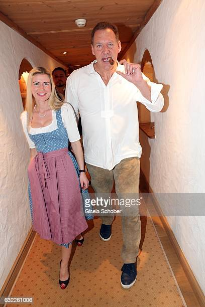 Ralf Moeller and Justine during the Weisswurstparty at Hotel Stanglwirt on January 20 2017 in Going near Kitzbuehel Austria
