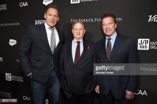 Ralf Moeller Mike Medavoy and Arnold Schwarzenegger attend the 7th Annual Sean Penn Friends HAITI RISING Gala benefiting J/P Haitian Relief...
