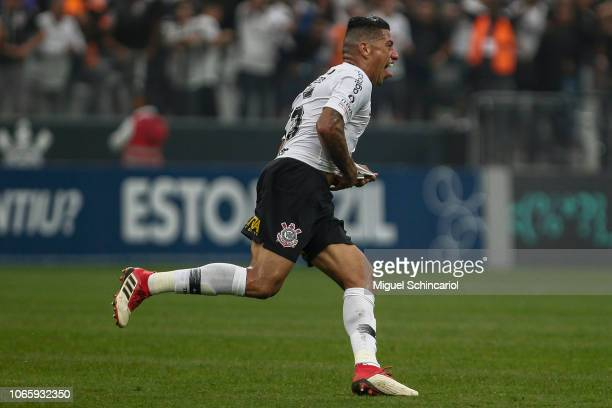 Ralf of Corinthians celebrates his goal during a match between Corinthians and Sao Paulo for the Brasileirao Series A 2018 at Arena Corinthians on...