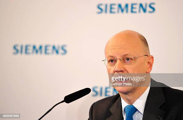 Ralf P Thomas Member of the Managing Board and Head of Finance and Controlling of Siemens AG addresses a press conference prior to the Siemens annual...