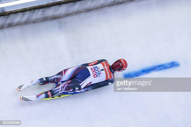 Ralf Palik of Germany competes in the first heat of the Men's Luge competition during the third day of the FILWorld Championships at Olympiabobbahn...
