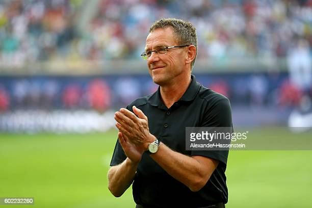 Ralf Ragnick Sports Director of Leipzig looks on prior to the Bundesliga match between RB Leipzig and Borussia Dortmund at Red Bull Arena on...