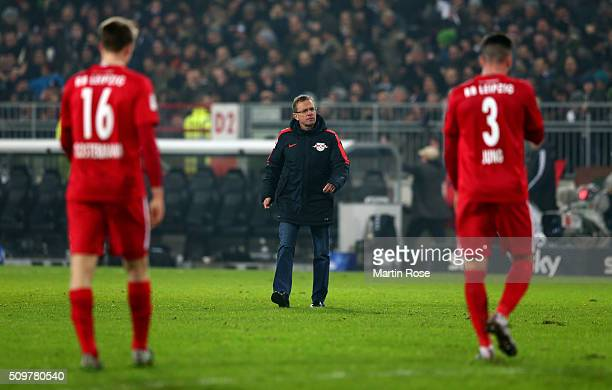 Ralf Rangnick head coach of Leipzig looks dejected after the second Bundesliga match between FC St Pauli and RB Leipzig at Millerntor Stadium on...