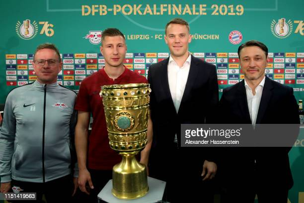 Ralf Rangnick head coach of RB Leipzig Willi Orban of RB Leipzig Manuel Neuer of FC Bayern Muenchen and Niko Kovac head coach of FC Bayern Muenchen...