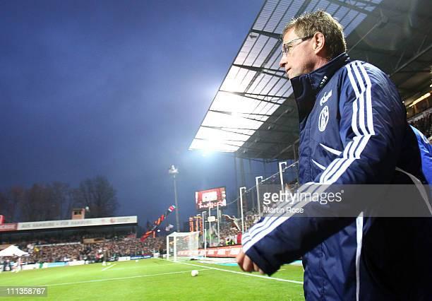 Ralf Rangnick, head coach of Schalke looks on before the Bundesliga match between FC St. Pauli and FC Schalke 04 at Millerntor Stadium on April 01,...