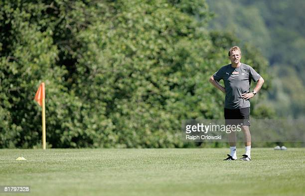 Ralf Rangnick, head coach of TSG 1899 Hoffenheim looks on during a training session at their training camp on July 2, 2008 in Stahlhofen near...