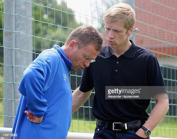Ralf Rangnick head coach of TSG Hoffenheim and Jan Schindelmeiser Manager of TSG Hoffenheim talks during a Training Session at the TSG Hoffenheim...