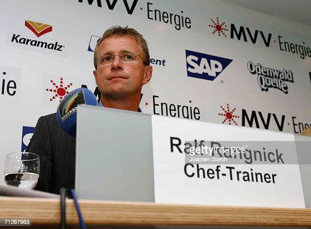 Ralf Rangnick looks on during a press conference of German Third League football club TSG Hoffenheim at Dietmar Hopp Stadium on June 22 2006 in...