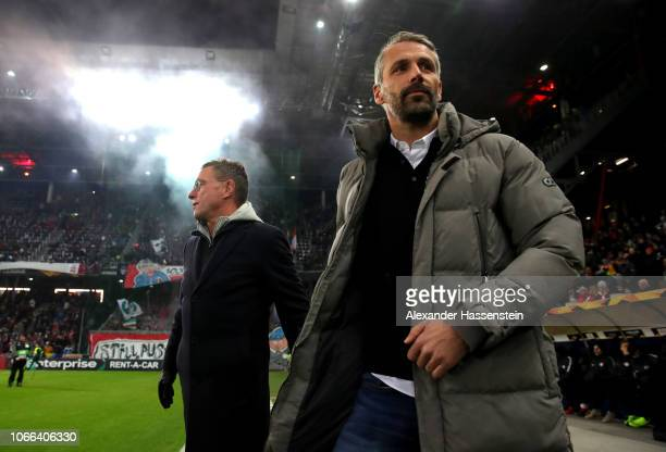 Ralf Rangnick Manager of RB Leipzig and Marco Rose Manager of RB Salzburg look on prior to the UEFA Europa League Group B match between RB Salzburg...