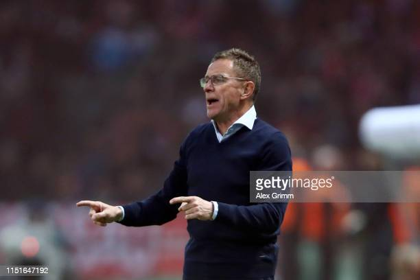 Ralf Rangnick, Manager of RB Leipzig gives his team instructions during the DFB Cup final between RB Leipzig and Bayern Muenchen at Olympiastadion on...