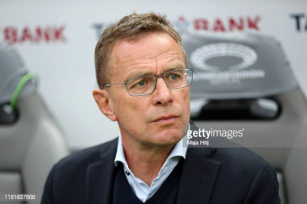 Ralf Rangnick, Manager of RB Leipzig looks on prior to the DFB Cup final between RB Leipzig and Bayern Muenchen at Olympiastadion on May 25, 2019 in...