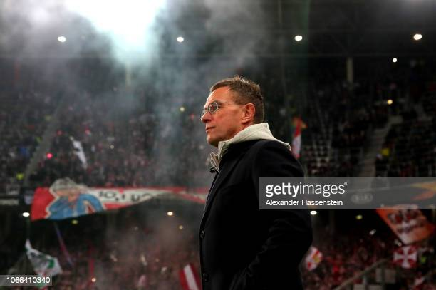 Ralf Rangnick, Manager of RB Leipzig looks on prior to the UEFA Europa League Group B match between RB Salzburg and RB Leipzig at Red Bull Arena on...