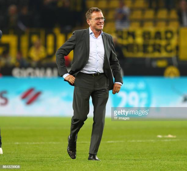 Ralf Rangnick of Leipzig looks on during the Bundesliga match between Borussia Dortmund and RB Leipzig at Signal Iduna Park on October 14 2017 in...
