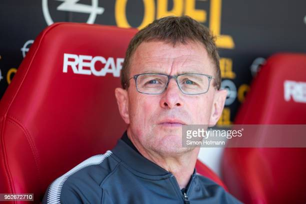 Raölf Rangnick of Leipzig looks on during the Bundesliga match between 1 FSV Mainz 05 and RB Leipzig at Opel Arena on April 28 2018 in Mainz Germany