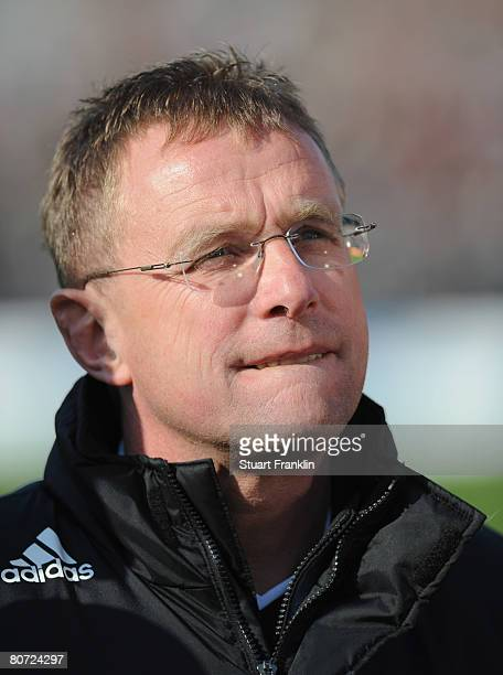 Ralf Rangnick trainer of Hoffenheim during the Second Bundesliga match between FC St Pauli and 1899 Hoffenheim at the Millerntor Stadium on April 16...