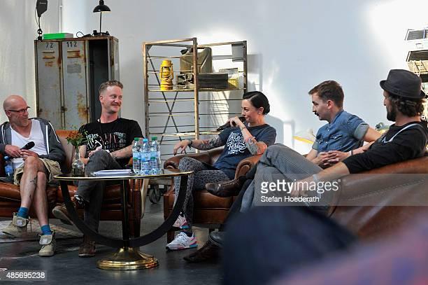 Ralf Rodepeter of BMW Motorcycles, Tim Meier of Gemeinsame Sache, Lina Van De Mars, Ben Arslan and Martien Delfgaauw talk on stage during a press...