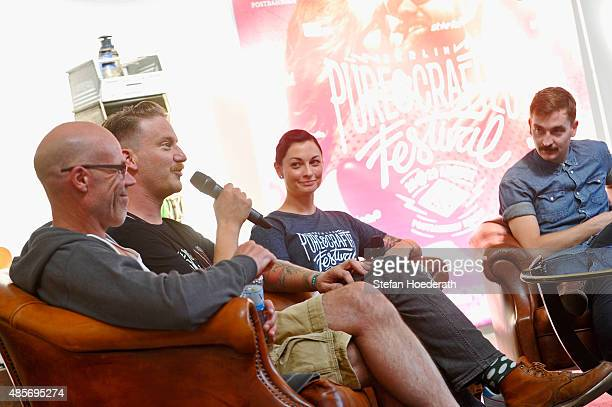 Ralf Rodepeter of BMW Motorcycles, Tim Meier of Gemeinsame Sache, Lina Van De Mars and Ben Arslan talk on stage during a press conference at the Pure...