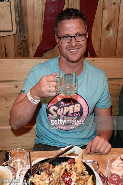 Ralf Schumacher attends the 'Pool Position Stammtisch' as part of the Oktoberfest beer festival at Theresienwiese on September 23, 2013 in Munich,...