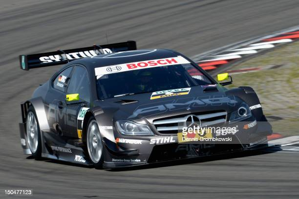 Ralf Schumacher of Germany and Mercedes AMG races during the DTM German Touring Car Championship race at Nuerburgring on August 19, 2012 in Nuerburg,...