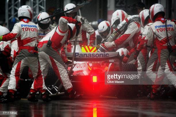 Ralf Schumacher of Germany and Toyota comes in for a pitstop during the Japanese Formula One Grand Prix at the Fuji Speedway on September 30, 2007 in...
