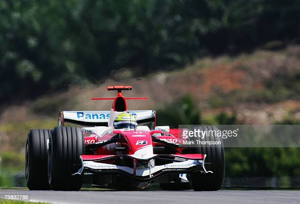Ralf Schumacher of Germany and Toyota competes during warm up for the qualifying session of the Malaysian Formula One Grand Prix at the Sepang...