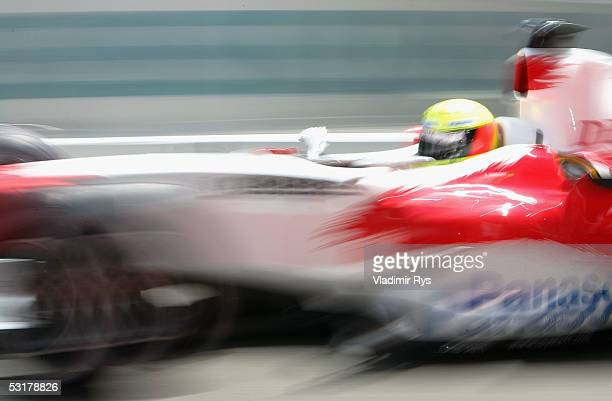 Ralf Schumacher of Germany and Toyota Racing in action during the practice for the French F1 Grand Prix at Magny Cours on July 1, 2005 in Nevers,...