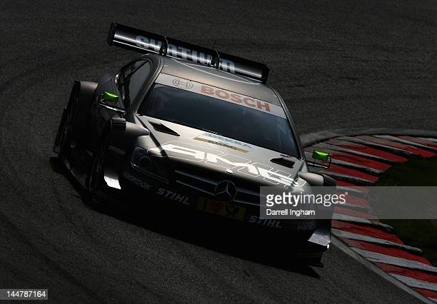 Ralf Schumacher of Germany drives the Mercedes AMG C Coupe during practice for the DTM German Touring Car Championship race at the Brands Hatch...