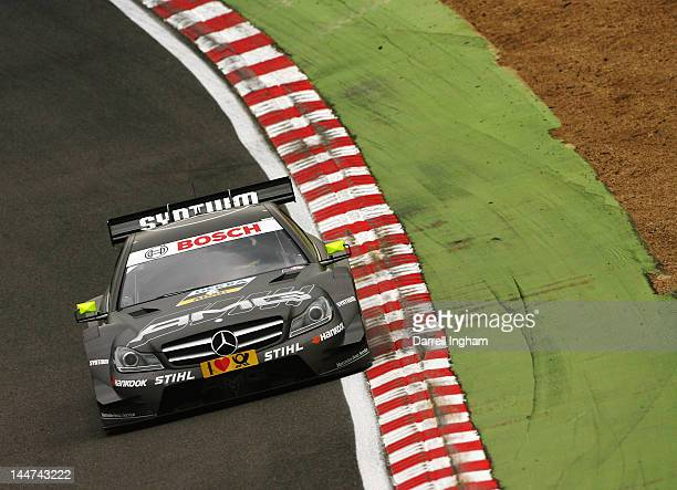 Ralf Schumacher of Germany drives the MercedesAMG C Coupe during practice for the DTM German Touring Car Championship race at the Brands Hatch...