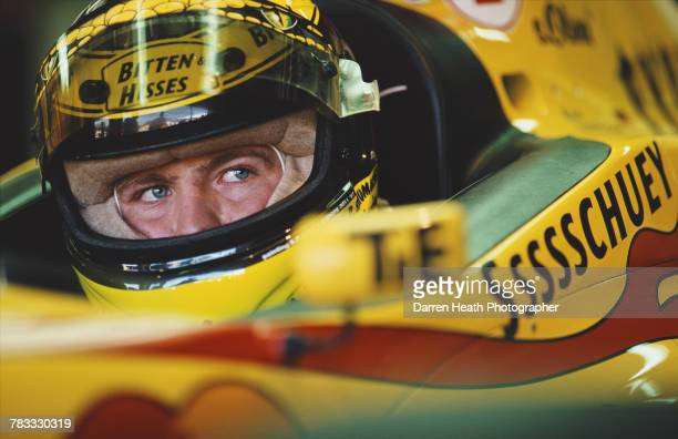 Ralf Schumacher of Germany sits aboard the Benson Hedges Total Jordan PeugeotJordan 197 Peugeot V10 during practice for the Formula One German Grand...