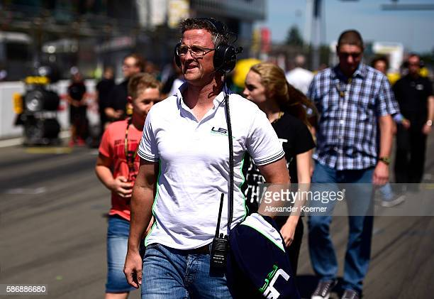 Ralf Schumacher uncle of Mick Schumacher and brother of former Formula 1 driver Michael Schumacher arrives prior the third race in the Formula 4 ADAC...