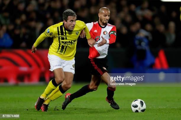 Ralf Seuntjens of VVV Venlo Karim El Ahmadi of Feyenoord during the Dutch Eredivisie match between Feyenoord v VVVVenlo at the Stadium Feijenoord on...