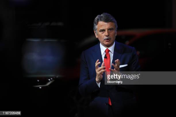Ralf Speth chief executive officer of Jaguar Land Rover Plc gestures while speaking on the opening day of the IAA Frankfurt Motor Show in Frankfurt...