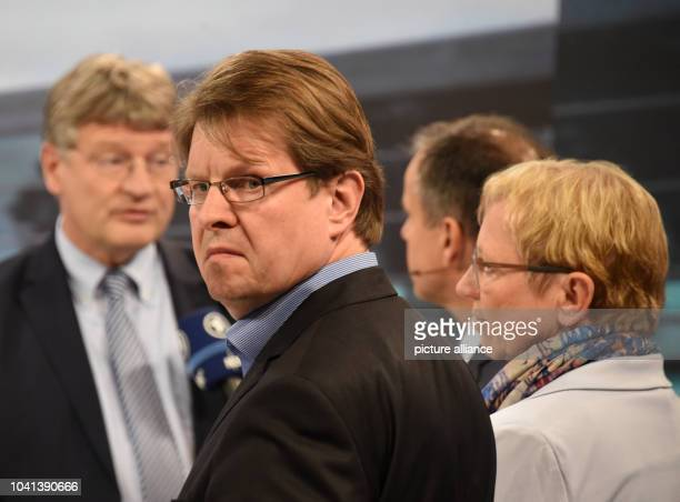 Ralf Stegner SPD state leader in the election studio while Joerg Meuthen of the AfD gives an interview in teh background in Kiel Germany 7 May 2017...
