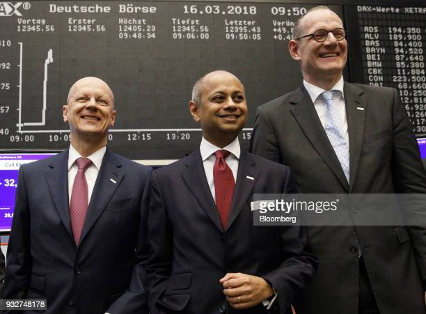 Ralf Thomas chief financial officer of Siemens AG left Michael Sen chairman of Siemens Healthineers AG center and Bernd Montag chief executive...