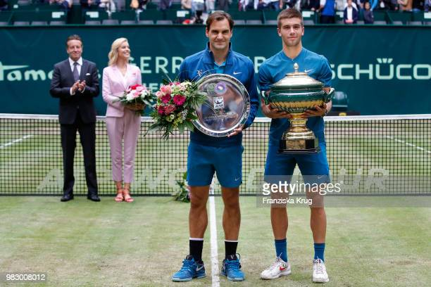 Ralf Weber CEO Gerry Weber Gerry Weber testimonial international supermodel Eva Herzigova tennis player Roger Federer and tennis player Borna Coric...