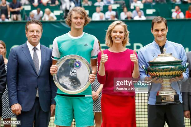 Ralf Weber tennis player Alexander Zverev Model Eva Herzigova and tennis player and winner Roger Federer attend the Gerry Weber Open 2017 at Gerry...