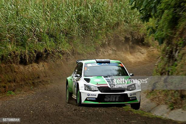 Ralfs Sirmacis and Arturs Simins in Skoda Fabia R5 of Sports Racing Technologies during the shakedow of the FIA ERC Azores Airlines Rallye 2016 in...