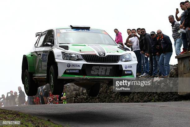 Ralfs Sirmacis and Arturs Simins in Skoda Fabia R5 of Sports Racing Technologies during the SS1 Batalha of the FIA ERC Azores Airlines Rallye 2016 in...