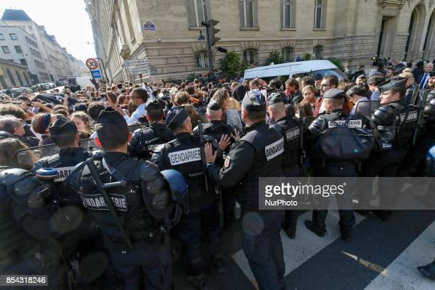 Rally against French President Emmanuel Macron in front of the Sorbonne University while the President delivers a speech on the European Union on...