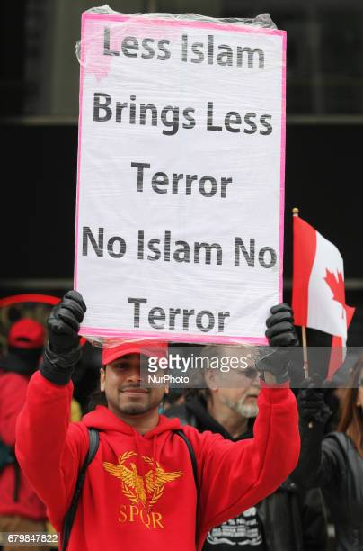 Rally against Islam Muslims and Sharia Law in downtown Toronto Ontario Canada on May 06 2017 Groups such as the Concerned Coalition of Canadian...